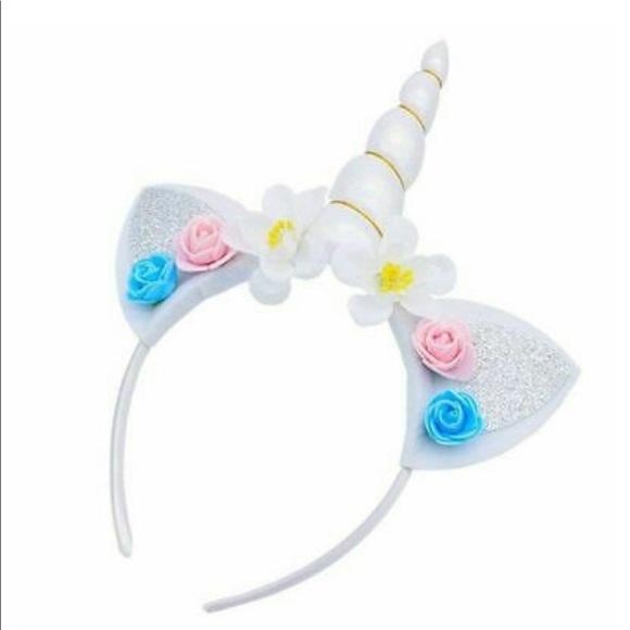 Other - 🦄WHITE Unicorn Horn Flower Headband Caticorn Hair